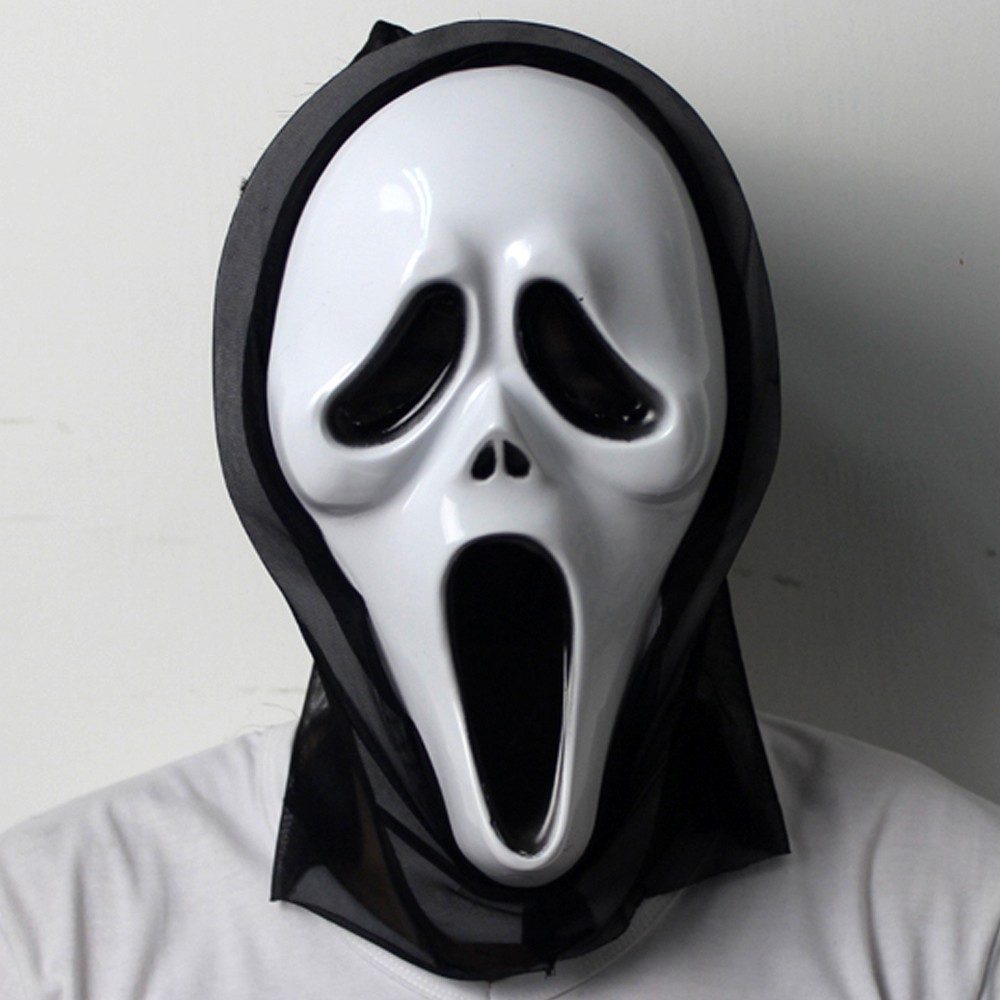 Opening Mouth & Long tongue Scream Ghost Scary Face Mask Halloween ...