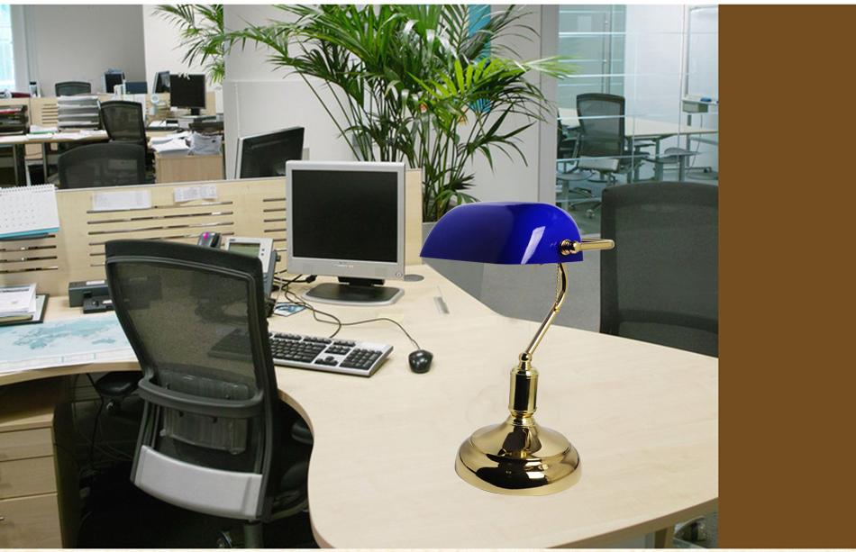 Blue Glass Shape Bankers Table Lamp Desk Reading Working Light 7W Globe Bulb