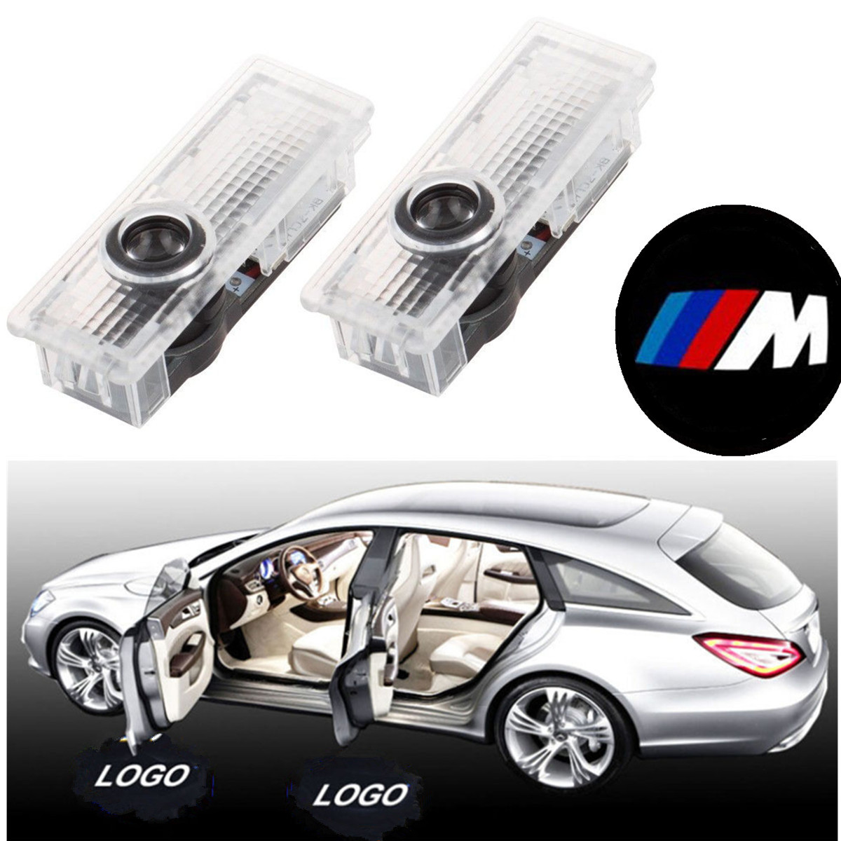 2x bmw m logo led step door courtesy welcome light ghost. Black Bedroom Furniture Sets. Home Design Ideas