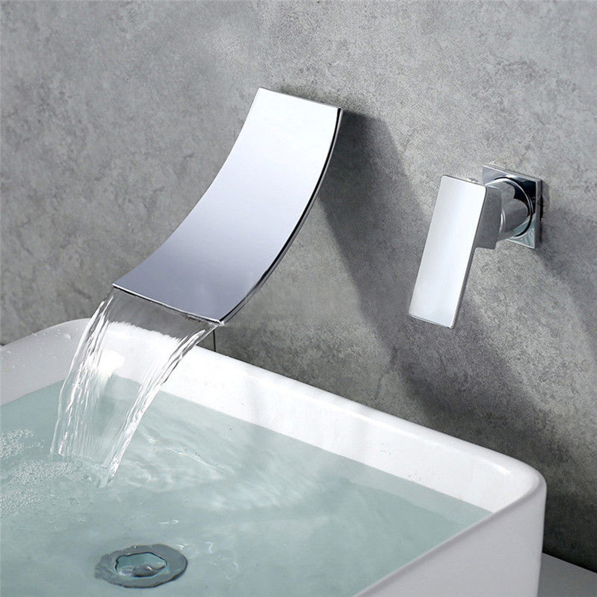 Wall Mounted Faucet Chrome Kitchen Bathroom Basin Waterfall Hot/Cold ...