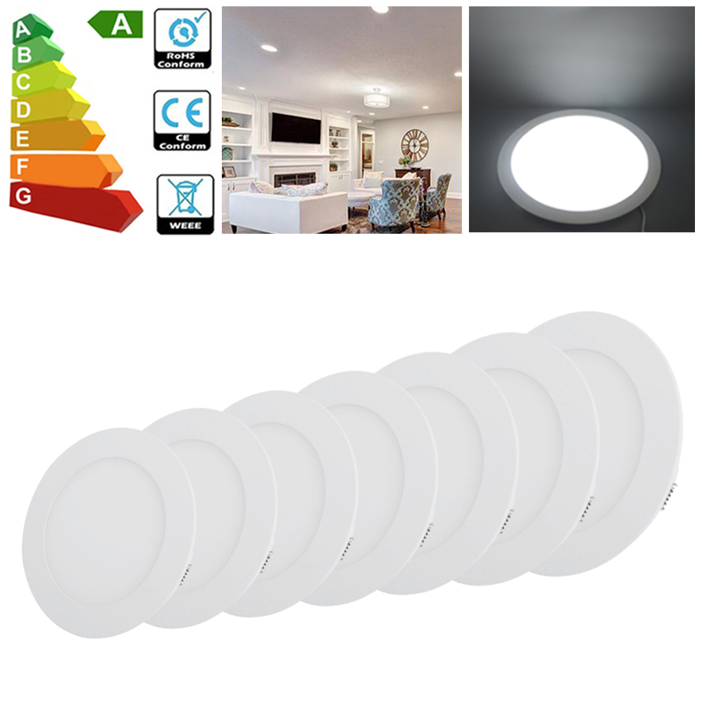 Round 3w 24w Led Recessed Ceiling Panel Light Ultra Slim Flat Downlight Kit Uk Ebay