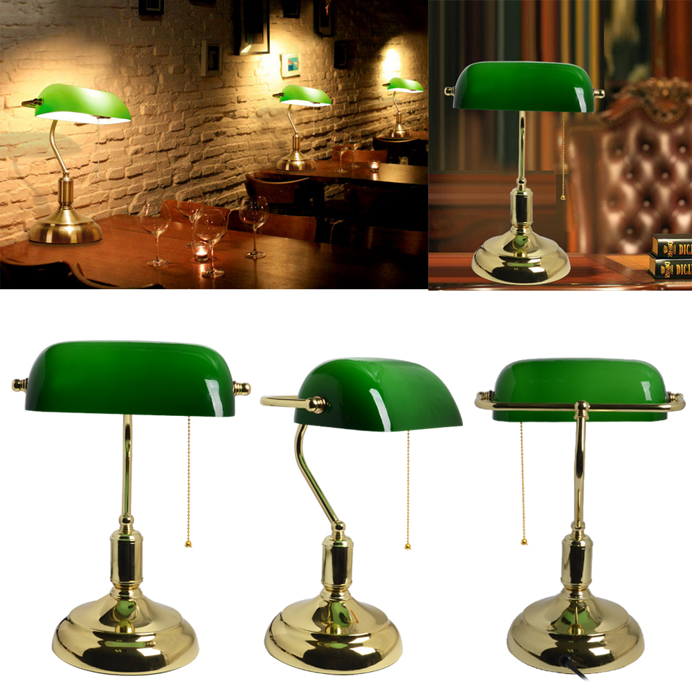 Details About Vintage Led Bankers Desk Lamp Green High Quality Antique Advocate Table Lamps