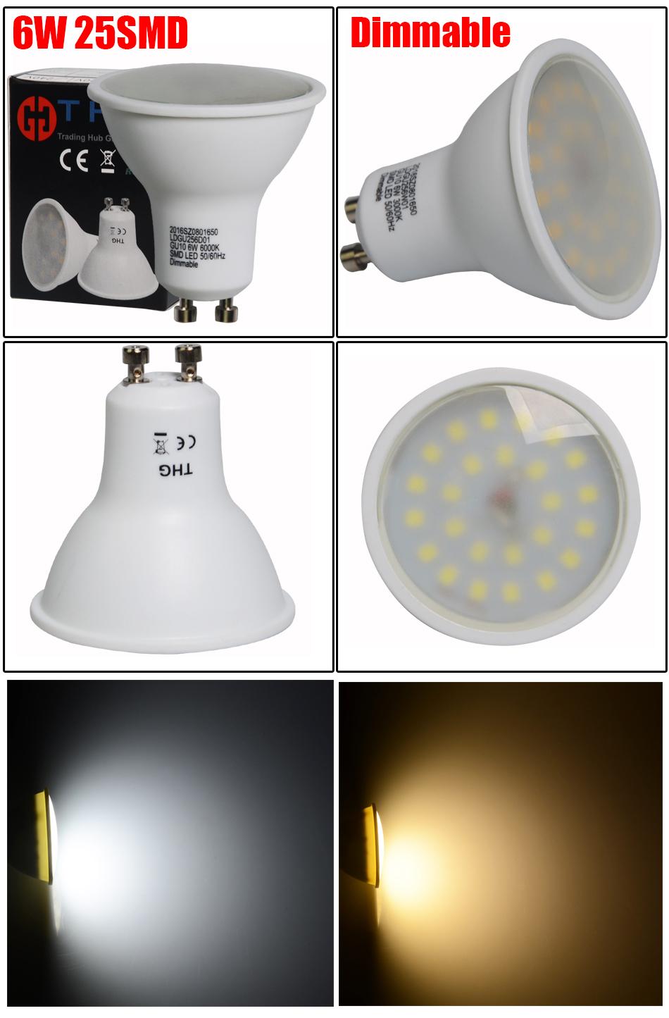 6W GU10 Dimmable LED Bulbs GU10 Lamps Spot Light Day Warm